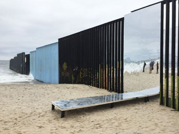 "Margarita Certeza Garcia in collaboration with Miguel Buenrostro and Marcos Ramirez ERRE ""Re/flecting the Border"", Tijuana 2017"