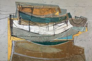 Moored Boats on Wet Sand. Leigh Davis