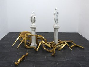 T-Yong Chung, Golden#Room, 2013, modified copy of Jesus and Mary with golden wood made from old trappings of chairs, 300x250x140cm