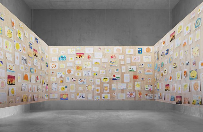 1/3 Ugo Rondinone your age and my age and the age of the sun, 2013 Concrete, plywood, 450 sun drawings made by the children of Leuven Dimensions variable Courtesy of the artist