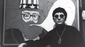 "Ulrike Ottinger in front of her work ""Allen Ginsberg"", Paris, 1965 