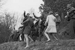 Throwing Balls (Házení míčů) into Bořín Pond, Happening in Průhonice, April 1969