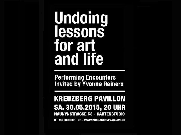 Undoing lessons for art and life. Performing Encounters invited by Yvonne Reiners: Image 0