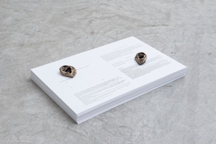 Cally Spooner Early research: method #7, 2016 Bronze cast of the artists ear, fiction, paper, offset print 6 x 43.5 x 29 cm Courtesy the artist and gb agency, Paris Photograph: Aurelien Mole