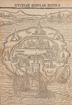 Image: Map from Thomas More's Utopia (1518), Courtesy the John Rylands Library, The University of Manchester
