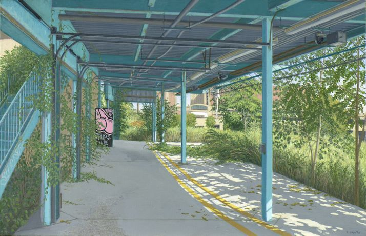 Walkway, Bronx Golf Center, 2016, Oil on linen, 22 x 34 in / 56 x 86 cm