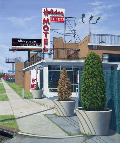 Valeri Larko, Holiday Motel, Bronx, Oil on linen, 36 x 30 in / 91 x 76 cm