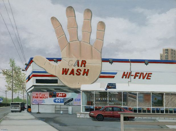 Valeri Larko, Hi Five, Bronx 2019, Oil on panel 12 x 16 in / 30.5 x 41 cm