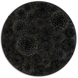 Valeria Nascimento, Black Botanica, Porcelain and Charred Wood, 100 x 100 cm, Woolff Gallery