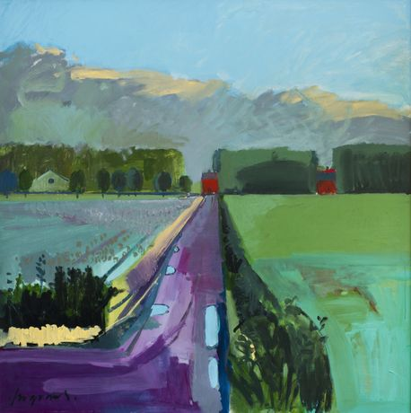 Fog rolling in from The Wash, Sluice Road, Lincolnshire. Acrylic on board, 123 x 123cms