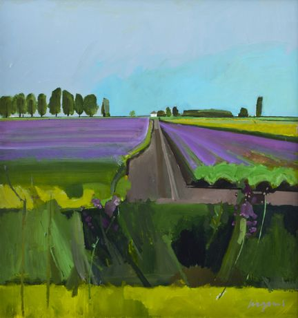 Flowering Potatoes, Dairy Drove, Ten Mile Bank, Aug 2014.  Acrylic on panel 116 x 123cms