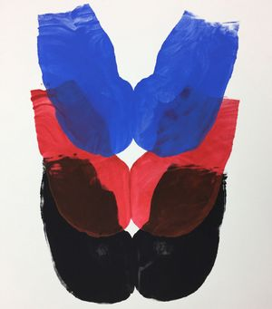 Kembra Pfahler, Butt Print Brussels I (blue, red, black), 2018, acrylic on Steinbach paper, 73 x 55 cm Butt Print by Kembra courtesy of Emalin Gallery