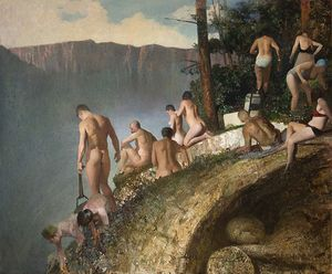 Vincent Desiderio. Bathers, 2017 oil on canvas, 57 x 69 inches