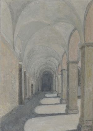 Vrinda Read, Courtyard in Olot, oil on canvas