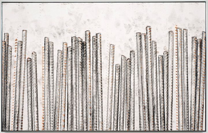 Ruben Ochoa, Steel Life, Roman Numeral Five, 2010. Intaglio with rust and graphite on paper. 19 1/2 x 30 1/2 inches. Courtesy of the artist and Susanne Vielmetter Los Angeles Projects. Photo Credit by Robert Wedemeyer.