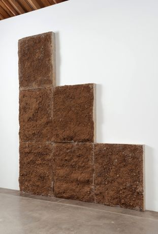 Ruben Ochoa, If only the world was flat, 2013. Concrete, steel, and dirt. 143 x 120 x 7.25 inches. Courtesy of the artist and Susanne Vielmetter Los Angeles Projects. Photo by Robert Wedemeyer.