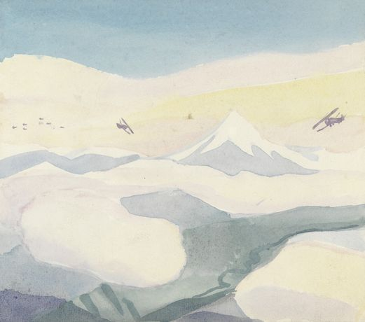 Sydney Carline, Camel Scouts on Patrol above the Piave Valley, April 1918, watercolour on paper, Imperial War Museum
