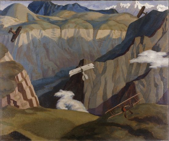 Sydney Carline, British Sopwith Camels Leaving their Aerodrome on Patrol over the Asiago Plateau (detail), 1918, oil on canvas, Imperial War Museum