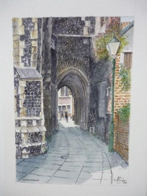 Watercolours - Norwich yards & alleys by Norman Sidebottom