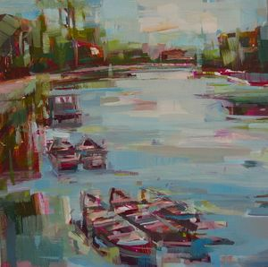 Moorings, Richmond Bridge - oil on board