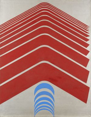 "Minoru Yoshida, Just Curve ""Red,"" 1967. Oil on canvas, 45 5/8 x 35 ¾ inches / 115.9 x 90.8 cm."