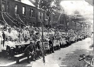 WW1 Courtenay Road Street Party, 1918, Courtesy Vestry House Museum