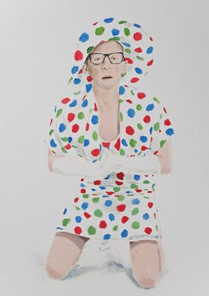 Alessandro Raho, Polka Dot Man (RGB Version), 2015, oil on canvas, 86 x 61 cm. courtesy: Alison Jaques Gallery, London. Photo: Michael Brzezinski