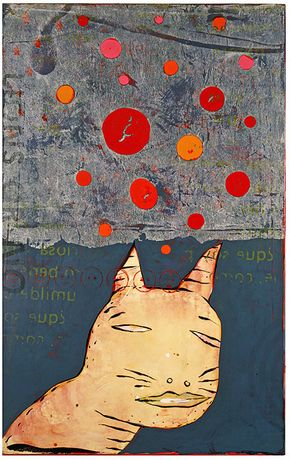 John Randall Nelson, Grinning Radiant and Warm, 52 x 33 inches, mixed media on panel