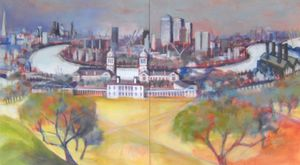 Shard to O2: View from Greenwich Observatory, 2015, acrylic on canvas, 102 x 183cm (diptych)