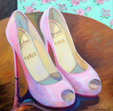 Nomi Knecht,PinK Goody Two Shoes II,Oil on Canvas,24''x 24''