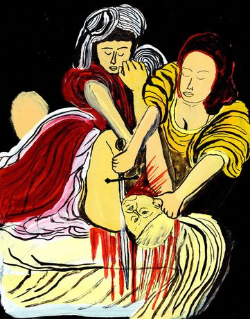 Arrington By Dionyso, Judith Beheads Holofernes , 2017 Acrylic Ink - 60.96 × 45.72 cm Courtesy of the artist