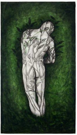 Rite, 1997  Oil stick and charcoal on paper  88 x 50 inches