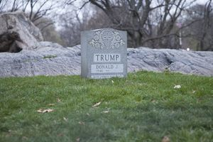 Brian Andrew Whiteley – The Legacy Stone Project (The Donald Trump Tombstone) Image taken in Sheeps Meadow, Central Park via photographer Ventiko, Granite, 2016 ,20 x 24 x 8 inches