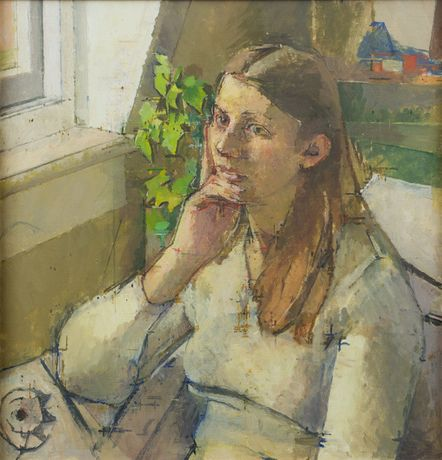 William Coldstream, Girl Reflecting, 1977, Oil on canvas, Pallant House Gallery (Wilson Family Loan, 2006)