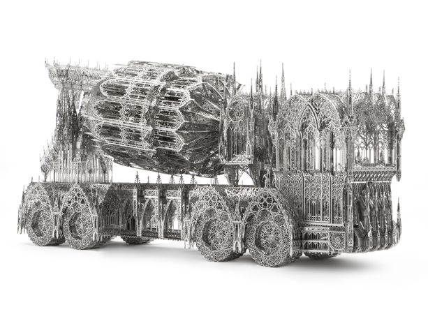 Wim Delvoye, Cement Truck, 2013, 138 x 36 x 68.5cm, laser-cut stainless steel, image courtesy of the artist and Gallery Hyundai