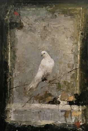 Ġoxwa, Bird, Mixed media on board, 45½ x 32