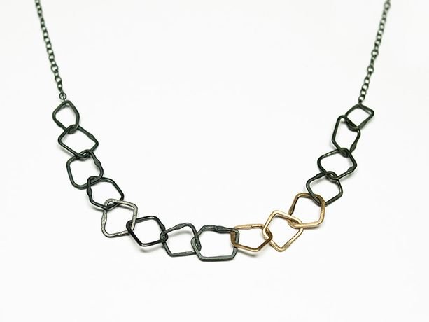 Bea Jareno Oxidised silver and gold necklace