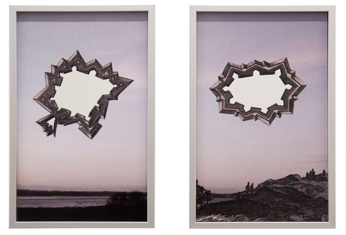Wolfgang Wirth Stars (Reflections on a Landscape), 2018 Digital print, mirror 15 x 9 cm (diptych) - Un. edition