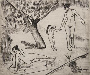 Suzanne Valadon, Untitled (Three figures in a landscape), 1904, Etching on paper, Pallant House Gallery (Michael Woodford Bequest 2015)