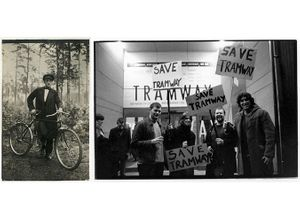 Left: Work by unknown photographer/studio, (early 20th Century), courtesy private collection. Right: Alan Dimmick, 'Save Tramway', (2003), courtesy and copyright Alan Dimmick.