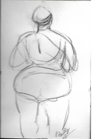 Patrick Lovely ,Pencil drawing Fat lady