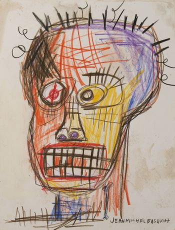 eature Exhibition: Neptune's Place: Early Works By Jean-Michel Basquiat; Untitled-colorful-skull-face-Pencil-Crayon-on-Card-Stock-9-x-11.5-in