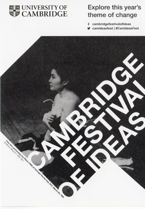 Cambridge Festival of Ideas flyer featuring Yoko Ono performing Cut Piece (1964) at Carnegie Recital Hall, NYC, March 25, 1965.