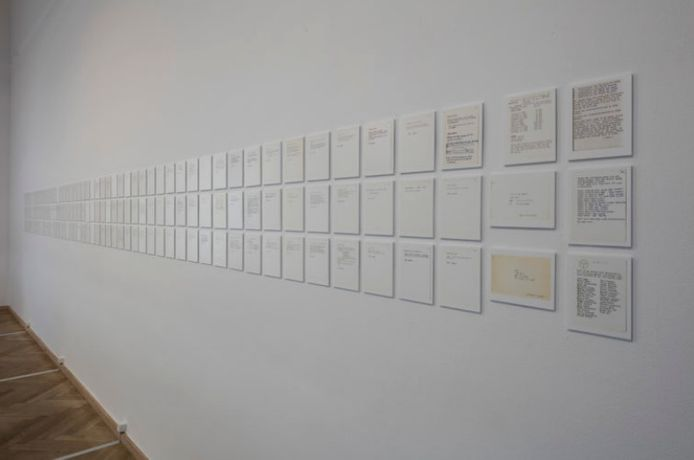 "Yoko Ono, ""Typescripts for Grapefruit"", 1963-1964. Prelimenary working manuscript. Installation view, Kunsthal Charlottenborg, 2017. Photo by Anders Sune Berg"