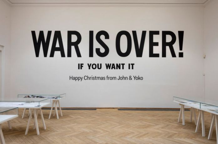 Yoko Ono & John Lennon, 'WAR IS OVER!', 1969 – ongoing. Worldwide billboard and poster peace campaign. Installation view, Kunsthal Charlottenborg, 2017. Photo by Anders Sune Berg