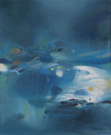 Chu Teh Chun, Atmosphère Bleue V, 1988, Oil on canvas, 72.5 by 60.5 cm.