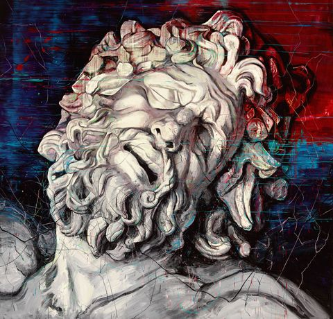 ZENG FANZHI Laocoon, 2015 Oil on canvas 157 1/2 x 157 1/2 inches 400 x 400 cm (unframed, in 2 panels) ©Zeng Fanzhi Studio. Courtesy Gagosian Gallery.
