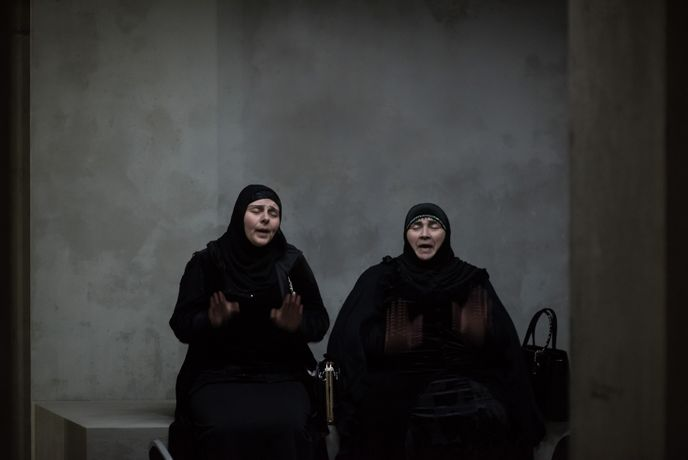Haji Rahila Jafarova and Lala Ismayilova. Taryn Simon, An Occupation of Loss, London, 2018, Photograph by Hugo Glendinning Courtesy Artangel