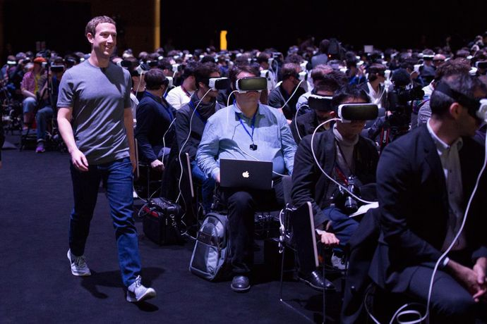 Mark Zuckerberg at the Mobile World Congress, in Barcelona, 2016