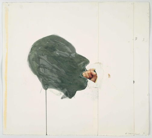 Bruce Nauman,. Fist in Mouth, 1990, Cut-and-pasted printed paper and paper with watercolor and pencil on paper. 20 1/4 x 23 3/4